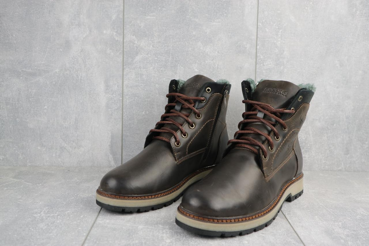 Мужские ботинки кожаные зимние коричневые Riccone 515