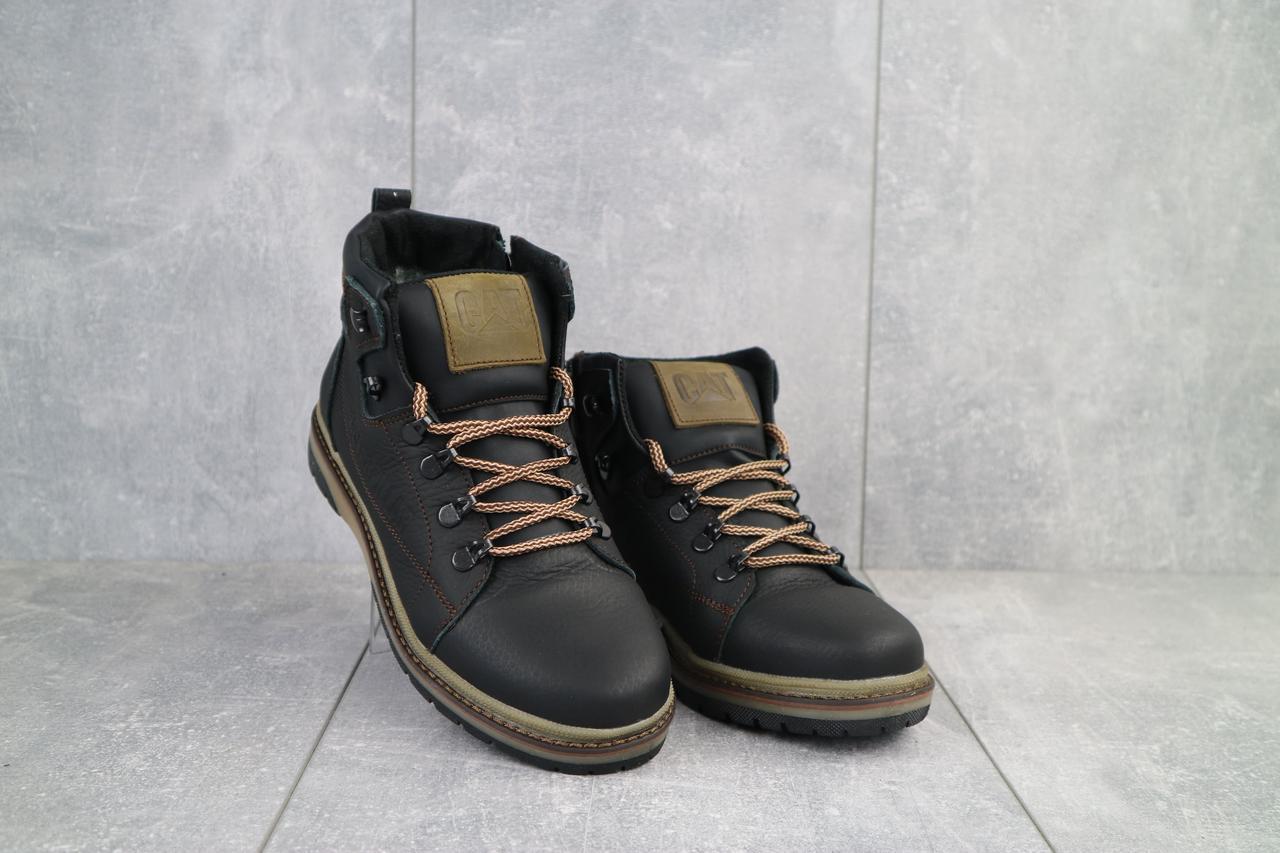 Подростковые ботинки кожаные зимние черные-оливковые CrosSAV 322
