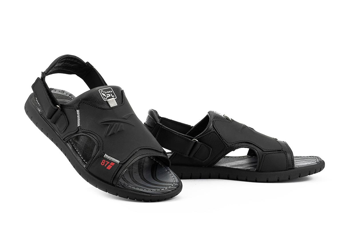 Мужские сандали кожаные летние черные Splinter SPL с 0420