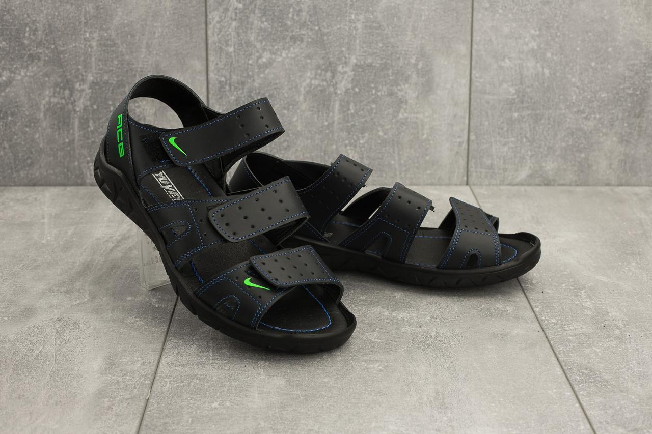 Мужские сандали кожаные летние синие Yuves C21