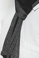 Модный мужской  шарф интересного кроя с черными вставками цвета меланж