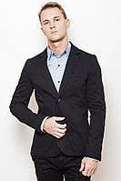 Модный класический мужской пиджак на две пуговици и накладными широкими карманими темно-синий