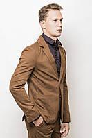 Модный класический мужской пиджак на две пуговици и накладными широкими карманими терракотовый