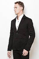 Модный класический мужской пиджак на две пуговици и накладными широкими карманими черный