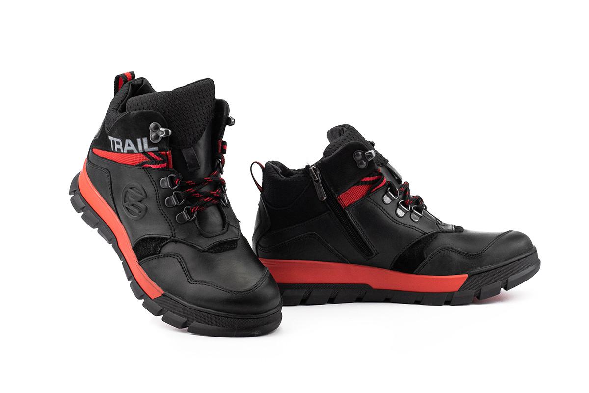 Подростковые ботинки кожаные зимние черные-красные Zangak 155 ч,кр+красн
