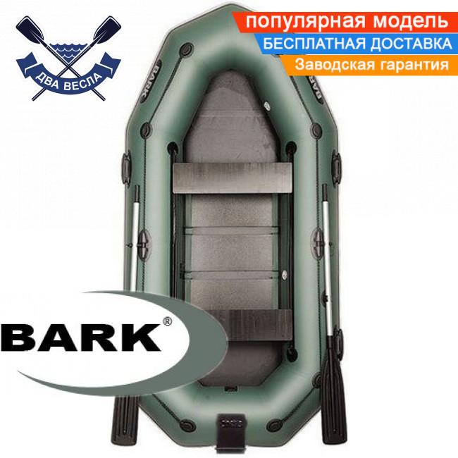 Надувная лодка Барк В-280НПД гребная лодка ПВХ Bark B-280NPD трехместная реечный настил транец привальник