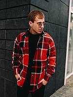 Рубашка мужская теплая в клетку зимняя кашемировая Оверсайз на байке черно-красная | осенняя демисезонная ЛЮКС