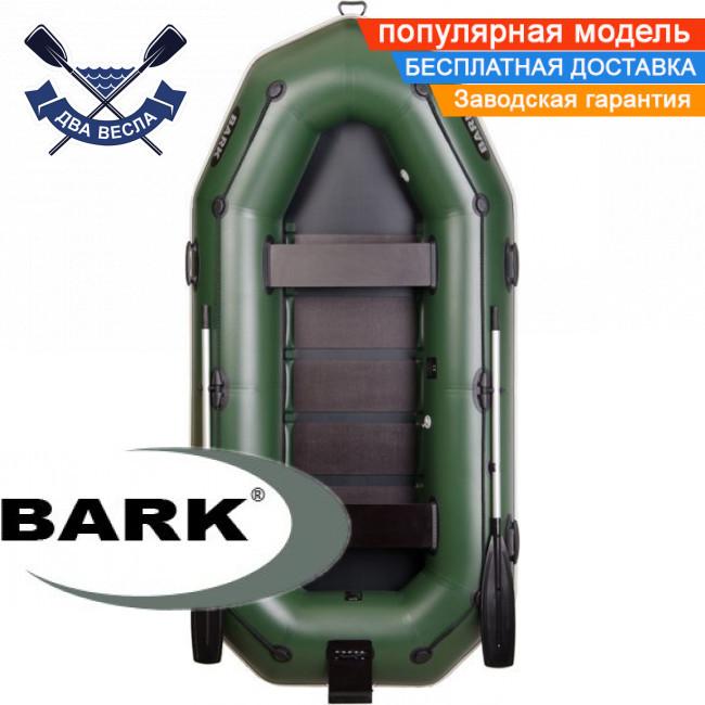 Надувная лодка Барк В-300НП гребная лодка ПВХ Bark B-300NP трехместная реечный настил транец привальник