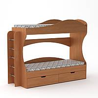 Детская двухъярусная кровать Бриз с ящиками, бортиками и лестницей 209х75х167 см (Компанит)