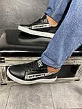 Мужские кроссовки кожаные весна/осень черные CrosSAV 399-ч, фото 6