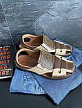 Мужские сандали кожаные летние бежевые-коричневые Bumer Premium 901, фото 2