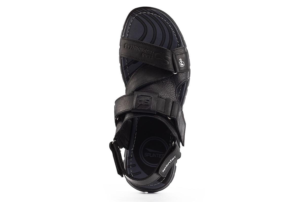 Мужские сандали кожаные летние черные-серые Splinter Summer с 1218