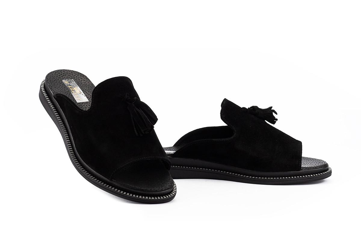 Женские шлепанцы замшевые летние черные Mkrafvt Fashion Ш-12