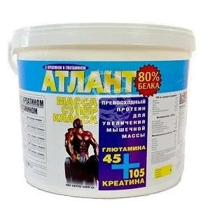 Протеин АТЛАНТ 80% + Креатин 105 гр. + Глютамин 45 гр. (синий) (3000 грамм.)