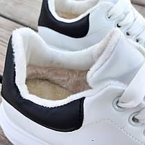 НА ХУТРІ Утеплені Білі Кросівки Alexander Mcqueen демисезон демі еко шкіряні, фото 2