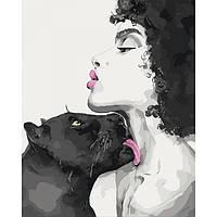 """Картина по номерам. Люди """"Поцелуй пантеры"""" 40*50см * KHO4506"""