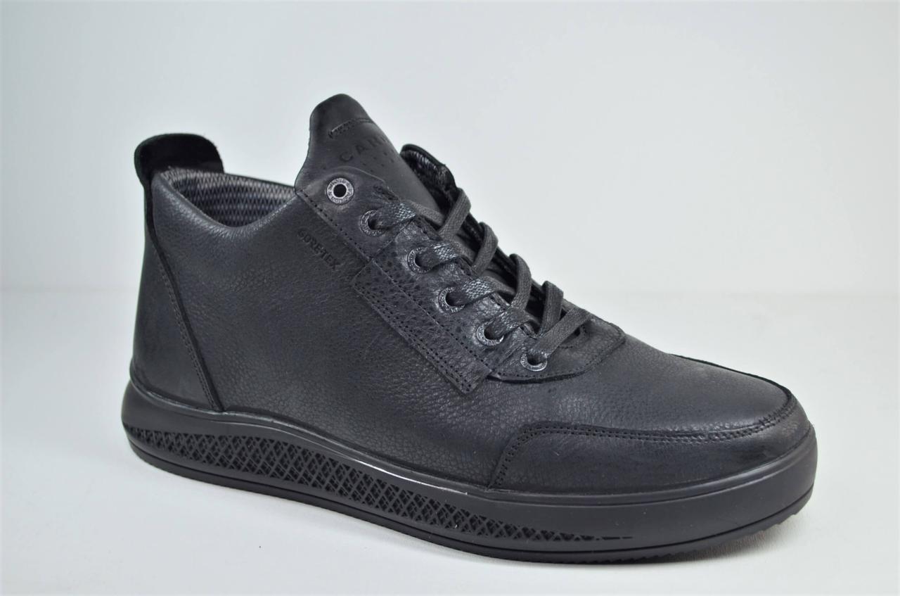 Мужские зимние кожаные ботинки черные Cardio 207
