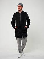 Мужской черный удлиненный стеганый бомбер плащ без капюшона осень/зима.Мужская зимняя стеганая черная куртка