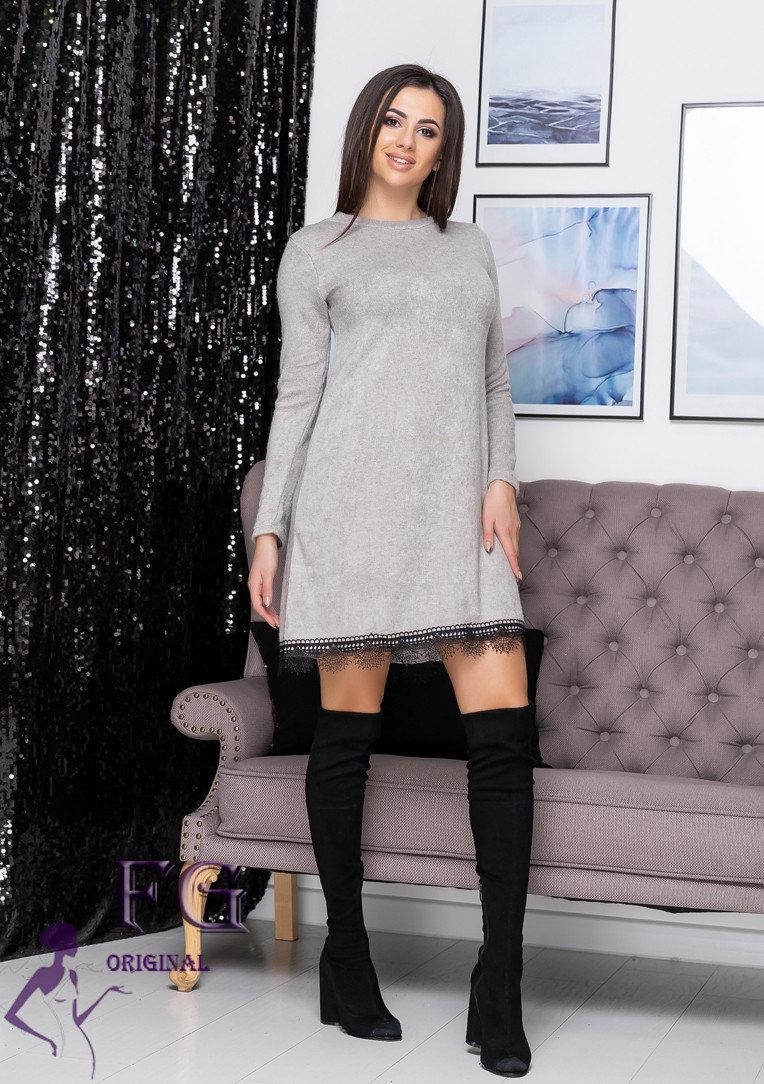 """Платье теплое серого цвета свободного кроя """"Galaxy"""" арктика"""