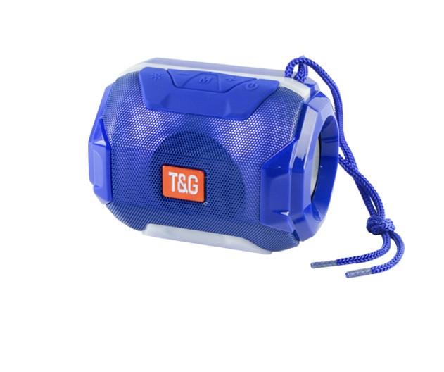 Портативная bluetooth колонка T&G TG-162 с подсветкой (Синяя)