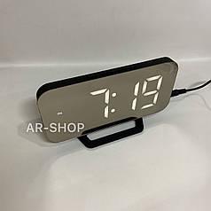Настольные электронные зеркальный часы LED  DS-3625, Черные с белым свечением