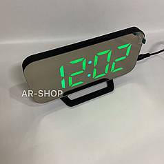 Настольные электронные зеркальный часы LED  DS-3625, Черные с зеленым свечением