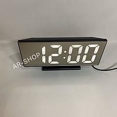 Настольные электронные зеркальный часы LED  DS-3618, Черные с белым свечением