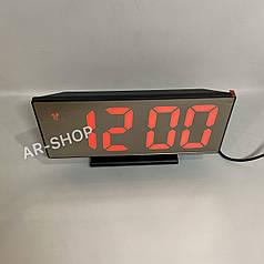 Настольные электронные зеркальный часы LED  DS-3618, Черные с красным свечением