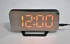 Настольные электронные зеркальный часы LED  DS-3625, Черные с красным свечением