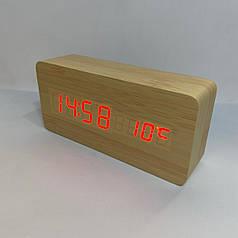 Часы деревянные с термометром Wooden Clock , Бамбук с красным