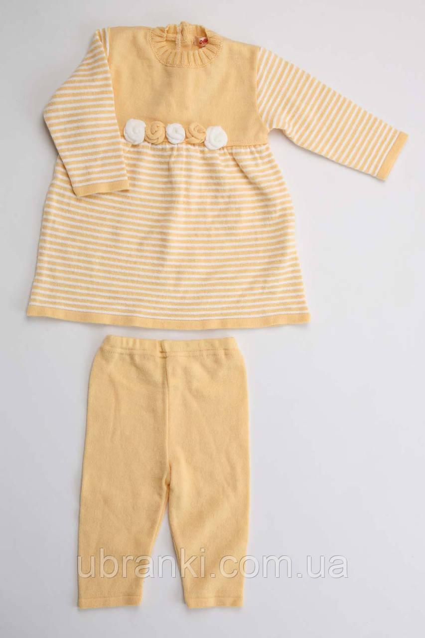 Теплый комплект для девочки (платье, штанишки)