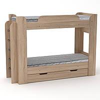Детская двухъярусная кровать Твикс с ящиками, бортиками и лестницей 211х78х152 см (Компанит)