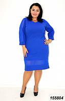 Платье осеннее женское со вставками сетки 48 50,52,54,56р, фото 1