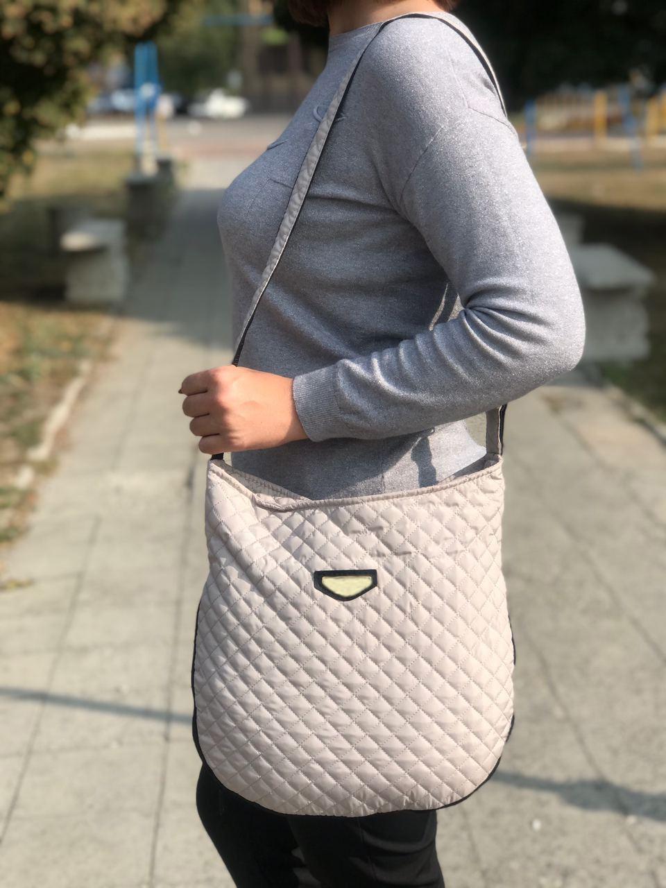 Дута/стьобана зимова жіноча сумка бежева (1265169203)
