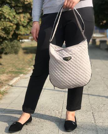 Дута/стьобана зимова жіноча сумка бежева (1265169203), фото 2