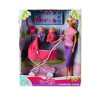 Штеффи в бриджах и близнецы в коляске, набор кукол Steffi & Evi Love (573 8060-1)