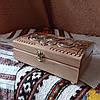 Шкатулка резная из дерева 21*15 с бархатом ручной работы, фото 7