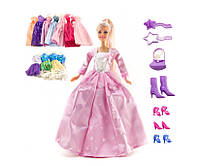 Кукла 29 см с большим набором DEFA 8193 наряды, платья, сумочка, обувь, аксессуары детская