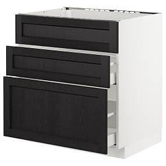 IKEA МЕТОД / МАКСІМЕРА(092.572.32)Підлог шафа д/мийки+3 фр пан/2 шух-білий/ЛЕРХЮТТАН чорна морилка