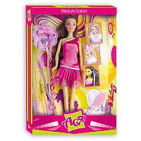 Салон красоты Набор с куклой 28 см, брюнетка с разноцветными прядями Ася (35032)
