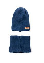 Теплый вязаный комплект (шапка, хомут)