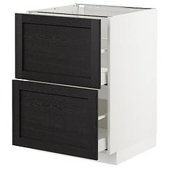 IKEA МЕТОД / МАКСІМЕРА (092.575.38) Підлогова шафа/2 фронт пан/2 вис шх, чорна морилка 60x60 см