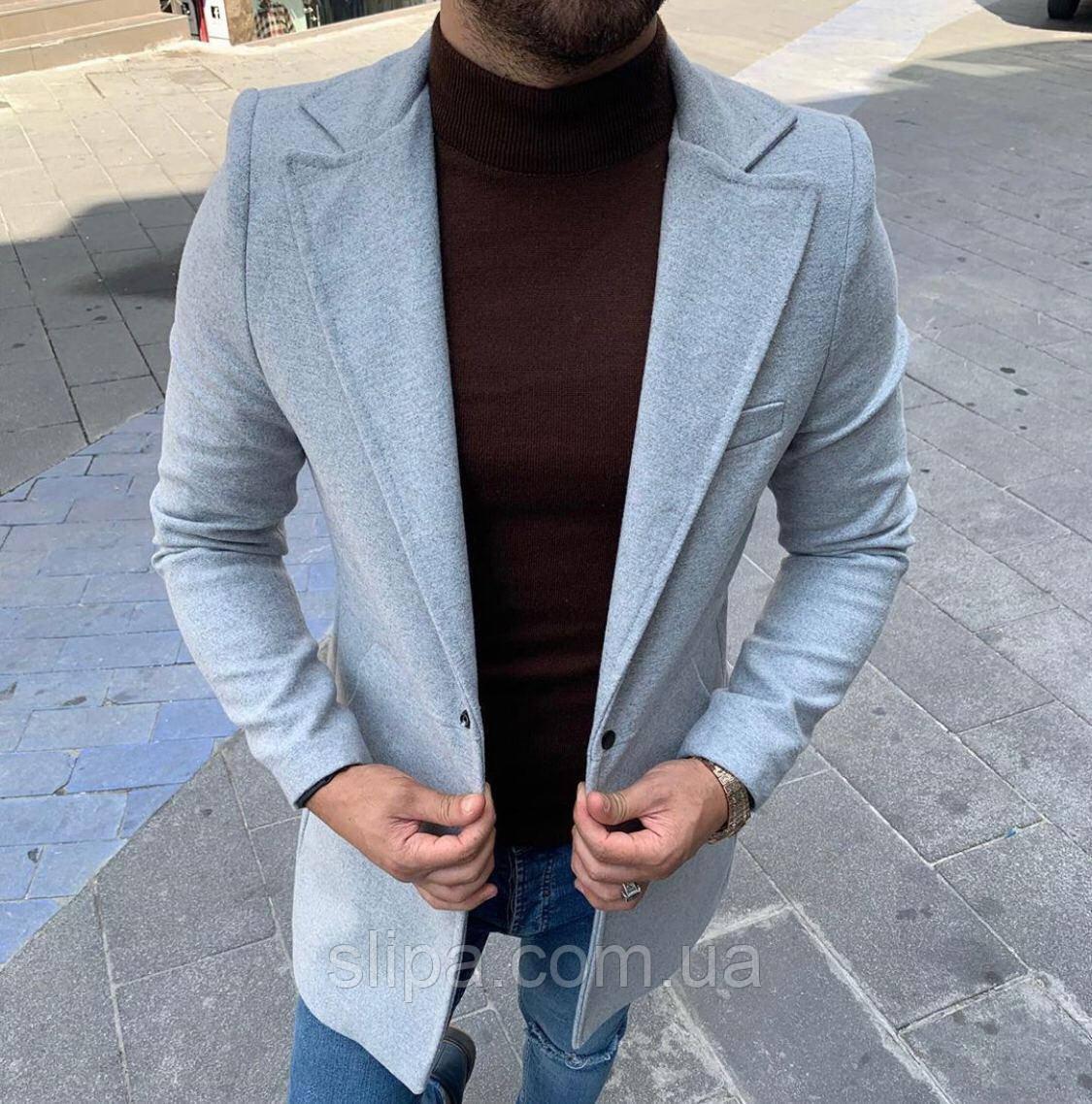 Мужское стильное пальто серое Slim Fit