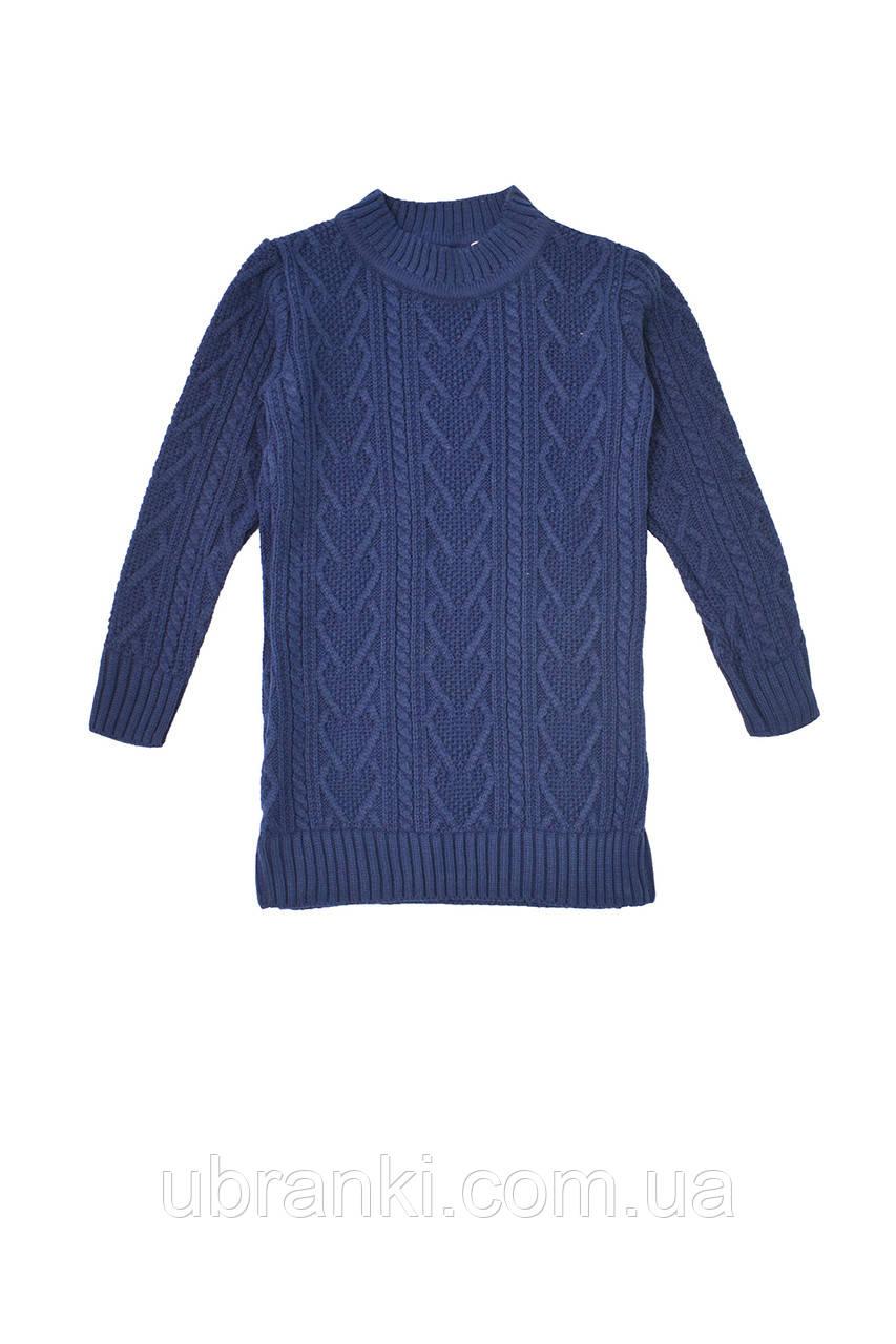 Теплый вязаный свитер-туника для девочки