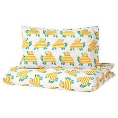 IKEA РЕРАНДЕ (004.625.38)  Підковдра+1 наволочка для ліжка д/нем, черепаха жовтий 110x125/35x55 см