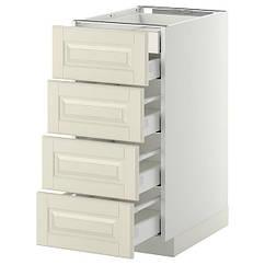 IKEA МЕТОД / МАКСІМЕРА(199.133.62) Підлог шаф/4 фр пан/2 низ/3 сер шух - білий/БУДБІН кремово-білий