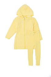 Тёплый, вязаный комплект для девочки (кофта, лосины)