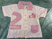 Кофточка с коротким рукавом бело-розовая  ОПТ