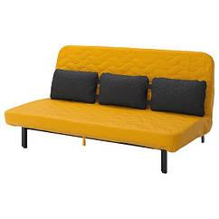 НІХАМН Диван-ліжко з потрійною подушкою - з пінополіуретановим матрацом/СКІФТЕБУ жовтий - IKEA