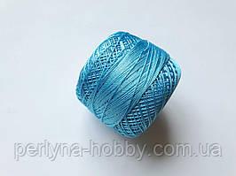 Нитки ірис поліестер (штучний шовк) для в'язання, вишикання  типу Ірис ( Iris ) 20 грам,,бірюзово-голубий